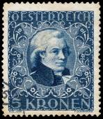 Stamp printed in Austria shows portrait of  Mozart — Stock Photo
