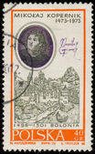 Stamp printed in Poland shows Nicolaus Copernicus — Foto Stock