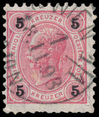 Stamp printed in the Austria shows Emperor Franz Josef I — Stock fotografie