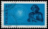 Razítko vytištěno v Polsku, ukazuje Mikuláš Koperník — Stock fotografie