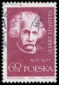 Stamp printed in Poland shows Albert Einstein — Zdjęcie stockowe