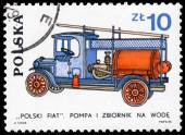 Stamp printed in Poland shows development of the Fire Brigade — Stok fotoğraf