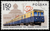 Stamp printed in POLAND shows Electric railcar — Stock Photo