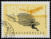 Stamp printed in Hungary shows 100th Anniversary of Airplanes — Stock Photo