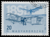 Stamp printed in Hungary shows 100th Anniversary of Airplanes — 图库照片