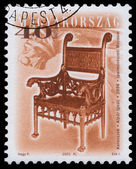 Stamp printed in Hungary shows antique chair — Stock Photo