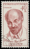 Stamp printed in Czechoslovakia shows portrait Lenin — Stock Photo