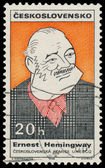 Stamp printed in Czechoslovakia shows Ernest Hemingway — 图库照片