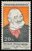 Stamp printed in Czechoslovakia shows Ernest Hemingway — Stok fotoğraf