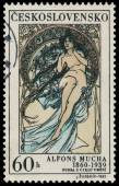 Stamp printed in Czechoslovakia shows painting by Alfons Mucha — Stock Photo