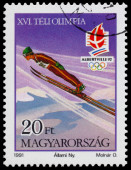 Stamp printed in Hungary shows Ski jumping — Stock Photo