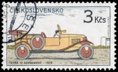 Stamp printed in Czechoslovakia shows Historic Motor Cars — Stock Photo
