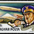 Stamp printed in Hungary shows History of Airships — Stock Photo #66847271