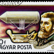 Stamp printed in Hungary shows History of Airships — Stock Photo #66848143