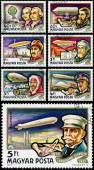 Stamps printed in Hungary show History of Airships — Stock Photo