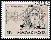 Stämpel tryckt i Ungern visar porträtt av Isaac Newton — Stockfoto
