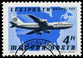 Stamp printed in Hungary shows plane BOEING 747 — Stockfoto