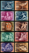 Stamps printed in Hungary show sports — Photo