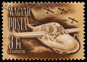 Stamp printed in Hungary shows sport flying — Foto de Stock