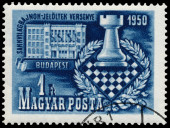 Stamp printed in Hungary shows Chess Tournament — Stock fotografie