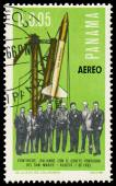Stamp printed in Panama shows the first Italian Satellite — Fotografia Stock