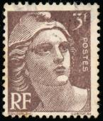 Stamp printed in France shows Marianne — Foto de Stock