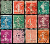 Stamps printed by France shows sowing — Stock Photo