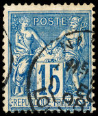 Stamp printed in France shows Athena and Hermes — Stock Photo