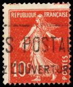 Stamp printed by France shows sowing — Stock Photo