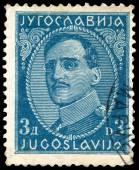 Stamp printed in Yugoslavia shows portrait king Alexander I — Stock Photo