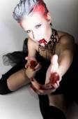 Sexy woman in blood — Stock Photo