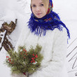 Beautiful Russian girl in winter — Stock Photo #65932821