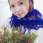 Beautiful Russian girl in winter — Stock Photo #65932881