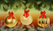 Christmas background with branches Christmas tree and golden baubles — Stock Photo