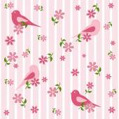 Seamless background with birds and flowers — Stock Vector