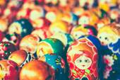 Colorful Russian Nesting Dolls At The Market — Stock Photo