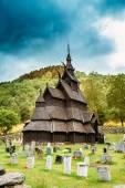 Borgund Stave Stavkirke Church And Graveyard, Norway — Stok fotoğraf