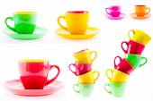 Beautiful Yellow, Red, Green Color Cups, Set, Collage — Stock Photo