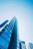 Blue Skyscrapers Background. Modern Architecture In Estonian Cap — Stock fotografie