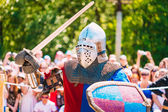 Knight In Fight With Sword. Restoration Of Knightly Battle — Stock Photo