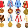 Collection Set Collage Of Russian Soviet Medals For Participati — Stock Photo #57630169