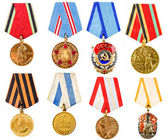 Collection Set Collage Of Russian Soviet Medals For Participati — Stock Photo