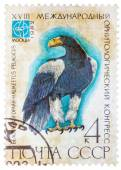 Stamp printed in USSR (Russia) shows a bird Haliaeetus pelagitus — Stock Photo