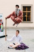 Street Performers, Levitation Man In Center Of Prague. — Stock Photo