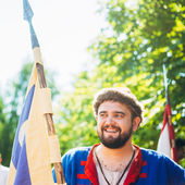 """Warrior participant of VI festival of medieval culture """"Our Grun — Stock Photo"""