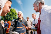 """Warriors participants of VI festival of medieval culture """"Our Gr — Stock Photo"""