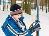 Unrecognizable Belarusian secondary school pupil preparing for s — Stock Photo