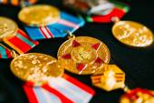 Anniversary Medals Of A Victory In The Great Patriotic War On Co — Stock Photo