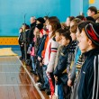 Unrecognizable Belarusian secondary school pupils lined up in th — Stockfoto #60556411