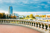 View of the modern architecture of Minsk, from the area Nyamiha, — Stock Photo